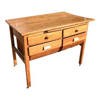 Vintage 4-Drawer Baker's Table For Sale