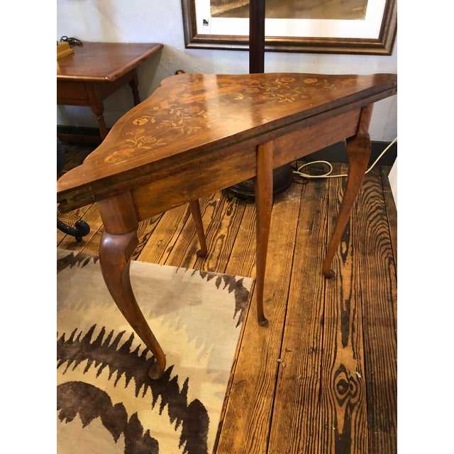 19th Century Traditional Triangular Mixed Wood Card Table For Sale - Image 11 of 12