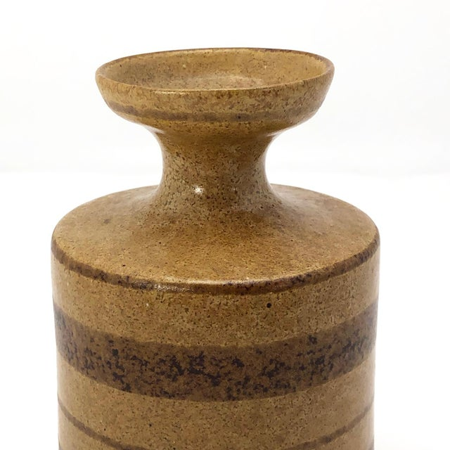 Mid-Century Pottery Craft California Brown on Brown Stoneware Bud Vase For Sale In Boston - Image 6 of 13