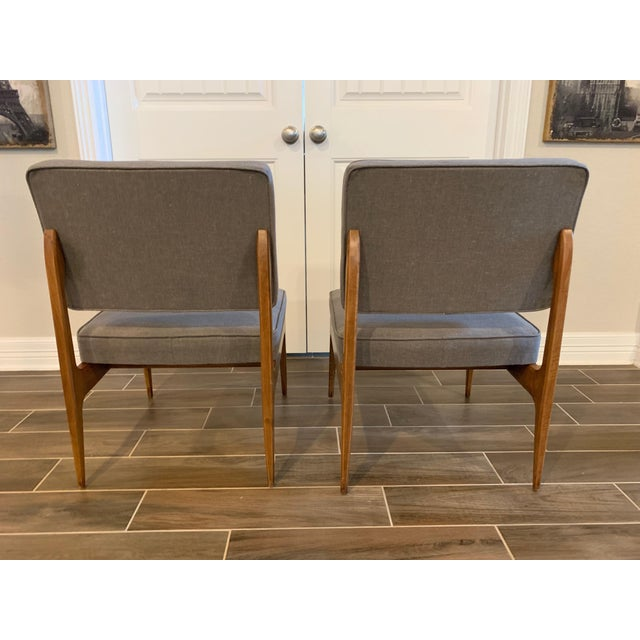 Wood Pair of Mid-Century Gray Linen Chairs For Sale - Image 7 of 11