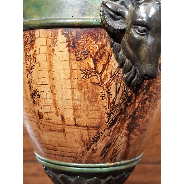 Vintage Single Italian Painted Urn Lamp For Sale - Image 9 of 11