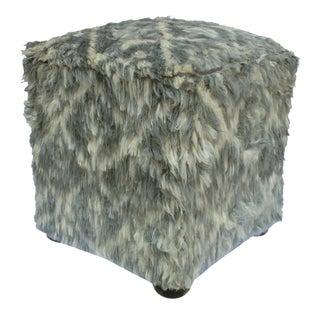 Arshs Davida Gray/Ivory Morrocan Wool Upholstered Handmade Ottoman For Sale