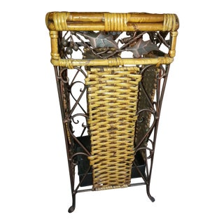 Bamboo Wicker & Iron Umbrella Stand