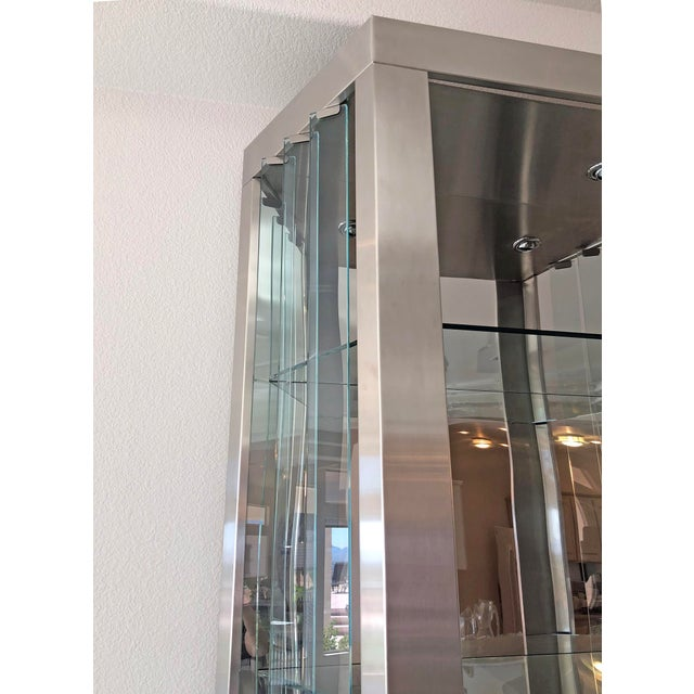 Rougier Pair of Modernist Rougier Stainless and Glass Shelving Vitrines For Sale - Image 4 of 7