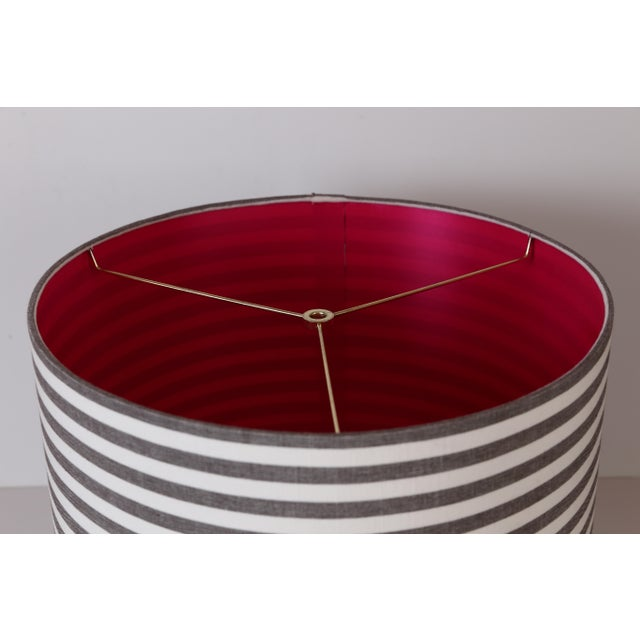 """14""""T x 15""""B x 11.5""""H Striped drum lampshades with pink lining. These are custom lampshades that can be reproduced. We..."""