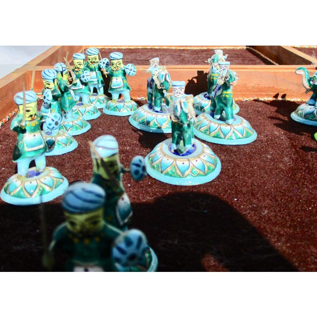 Indian Silver Enamel Mahogany Chess Set For Sale - Image 4 of 11