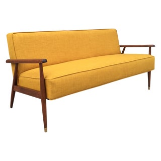 Yellow Midcentury Walnut Sofa For Sale