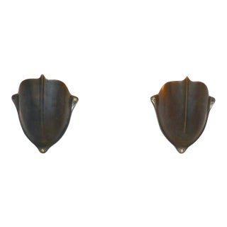 Vintage Solid Brass Medieval Shield Wall Sconces 1930s - a Pair For Sale