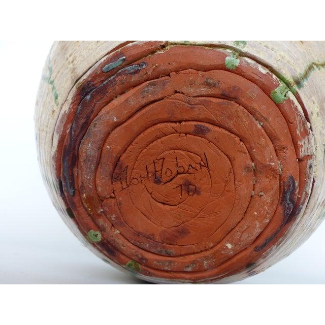 Green 1970s Vintage Glaze Terracotta Pottery Vase For Sale - Image 8 of 10