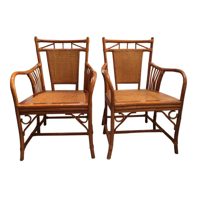 Palecek Cane Seat Armchairs - a Pair For Sale