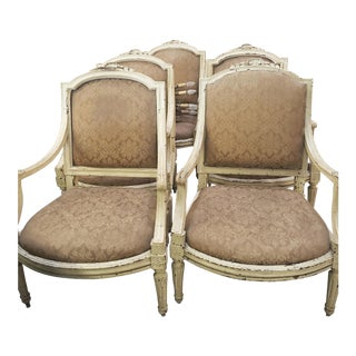 18th C. Genova Louis XVI Armchairs With Original Painted Finish- Set of 5 For Sale