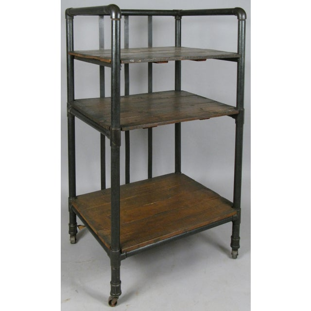 Black Antique 1950s Industrial Cast Iron Rolling Cart Bookcase For Sale - Image 8 of 8