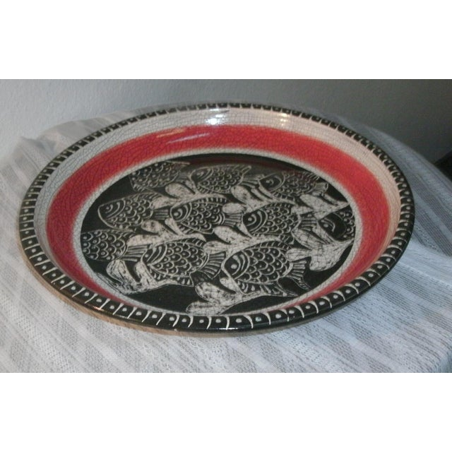 Late 20th Century Large Deep Crackle Ceramic Swimming Fish Platter Hand Signed & Numbered For Sale - Image 5 of 11