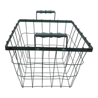 Blue Square Wire Basket with Wood Handles