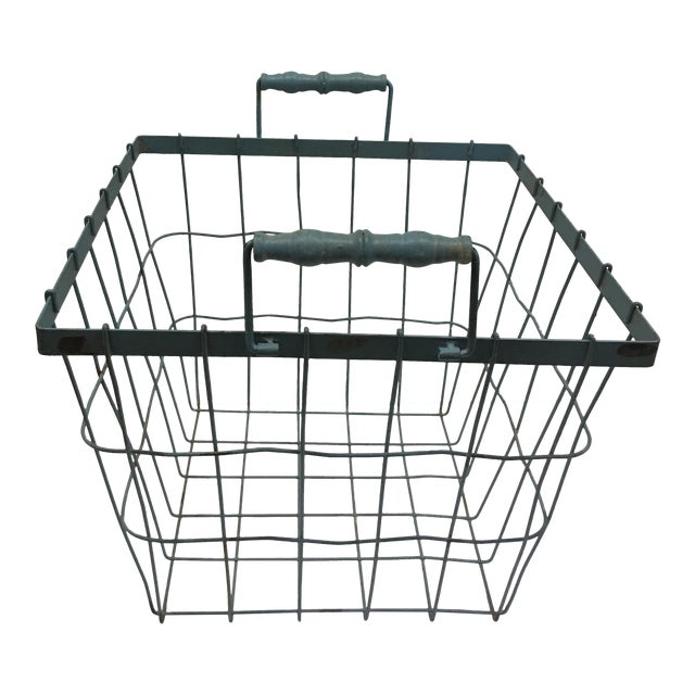 Blue Square Wire Basket with Wood Handles For Sale