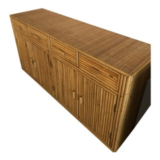 Vintage Tropical Split Reed Bamboo Credenza Buffet Sideboard For Sale