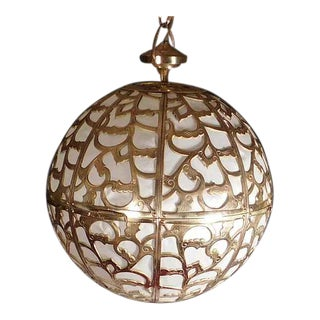 Vintage Brass Japanese Karakusa Pendant Light