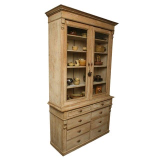 Painted White Pine Buffet a Deux Corps For Sale