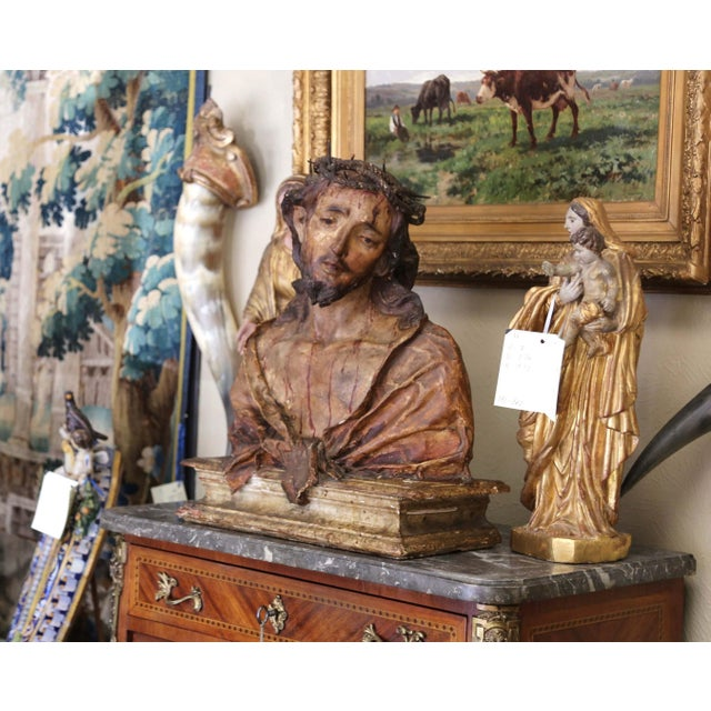 Crafted in Naples, Italy circa 1760, the carved wood and paper mâché sculpture depicts our Lord Jesus Christ on a...