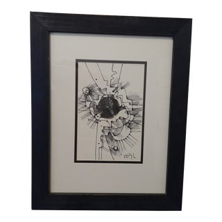 Modern Abstract Outsider Ink Art by Listed artIST Wayne Cunningham For Sale