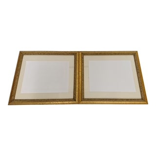 French Antique Bookpaper Matted Gilt Frames - a Pair For Sale