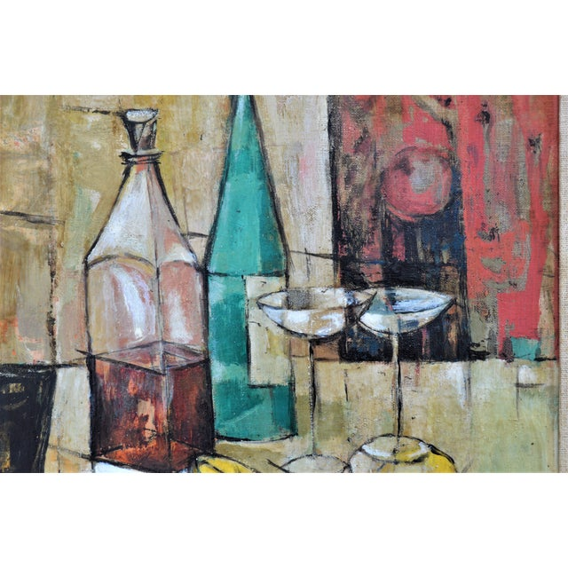 1950s Mid-Century Modern Cubist Oil Painting by Kero S. Antoyan Abstract Expressionism Millennial Pink - Image 6 of 11