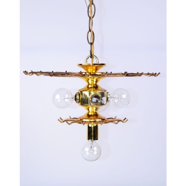 Vintage 5 Light Brass and Lucite Chandelier with Canopy For Sale - Image 10 of 10