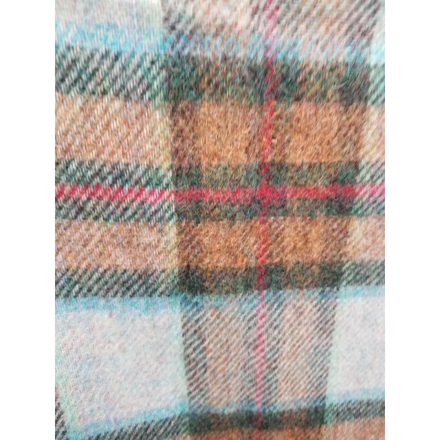 Blue Wool Throw Red Blue Orange Plaid - Made in England For Sale - Image 8 of 12
