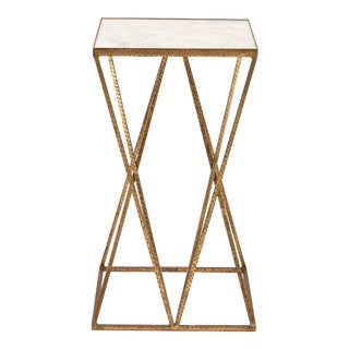 Triad End Table, White, Antique Brass For Sale