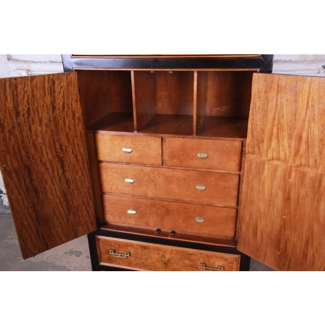 Brass Century Furniture Black Lacquer and Burl Wood Chinoiserie Armoire Dresser For Sale - Image 7 of 13