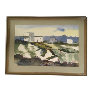 Vintage Mid-Century A. Marks Southwestern Landscape Framed Watercolor Painting For Sale