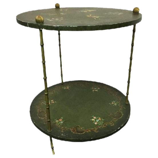 BEAUTIFUL BRASS ITALIAN FAUX BAMBOO SIDE TABLE DECORATED WITH MONKEYS For Sale