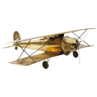 Large World War I Brass Biplane Airplane Model