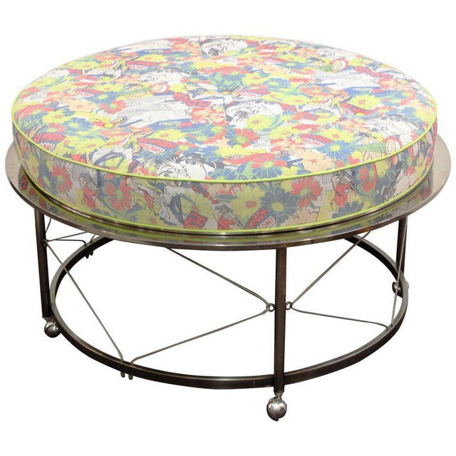 Mid Century Vintage Chrome Frame Ottoman With Pop Art Embossed Leather Upholstery For Sale - Image 10 of 10