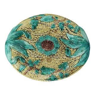 Antique Majolica Basket-Weave Serving Plate - C. 1880 For Sale