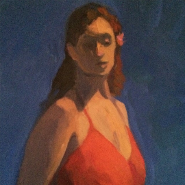 Painting of a Woman in a Red Dress - Image 3 of 4