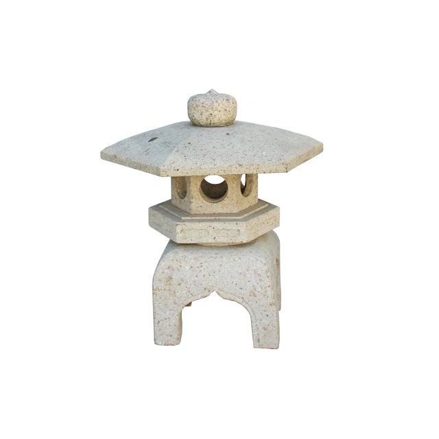 Asian Chinese Zen Off White Gray Hexagon Stone Garden Lantern Statue For Sale - Image 3 of 7