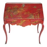 Image of Louis XV Period Gilt-Bronze Mounted Red-Lacquered Drop Front Bureau, Ca. 1750 For Sale