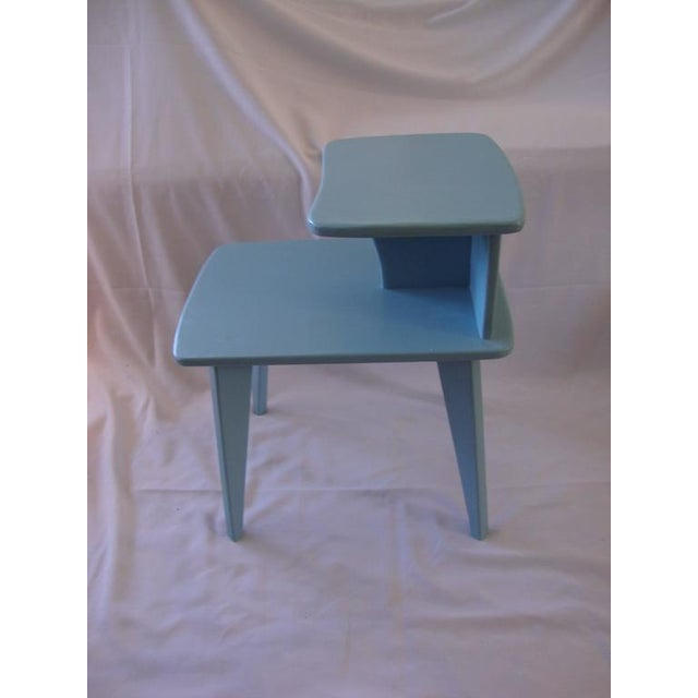 Retro Duck Blue Side Tables - A Pair - Image 2 of 6