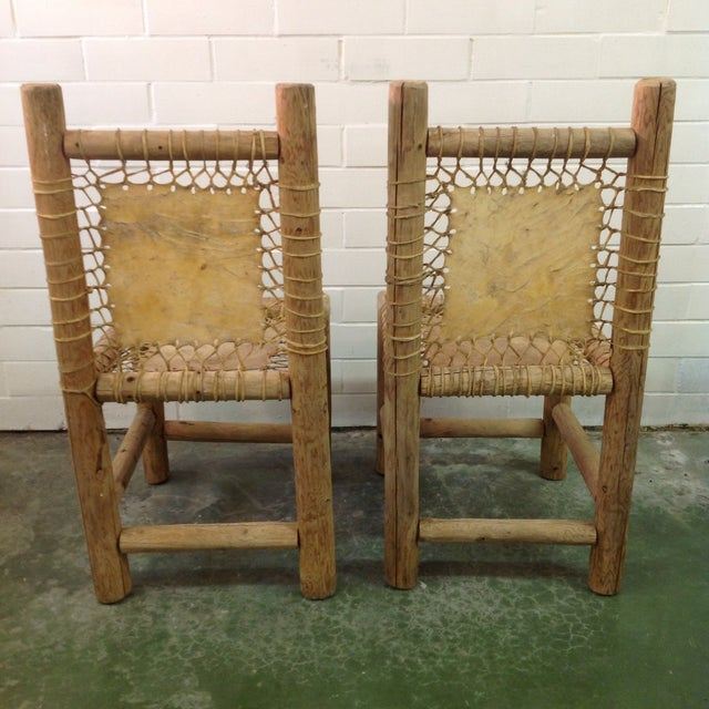 Vintage Handmade Lodgepole & Rawhide Chairs - Pair For Sale In Dallas - Image 6 of 6