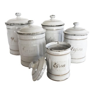 Vintage French Enamel Spice Canisters - Set of 5
