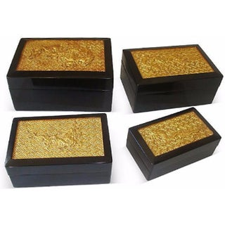 Chinoiserie Black Lacquer Gold Dragon Nesting Boxes - Set of 4
