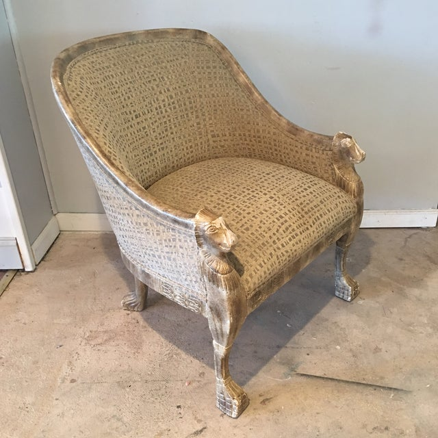 Egyptian Revival Neoclassical Lions Head Barrel Back Arm Chair For Sale - Image 3 of 11