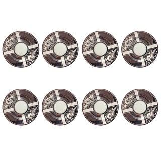 1920s Art Deco Susie Cooper Platinum Transfer Dinner Plates - Set of 8