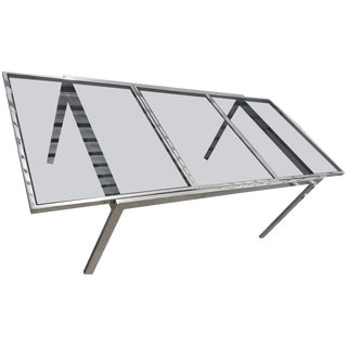 Milo Baughman Chrome and Smoke Glass Dining Table For Sale