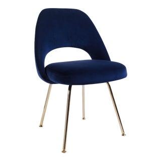 Saarinen Executive Armless Chair in Navy Velvet, 24k Gold Edition