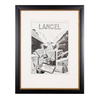 Framed French Lancel Print Ad, 1930s For Sale