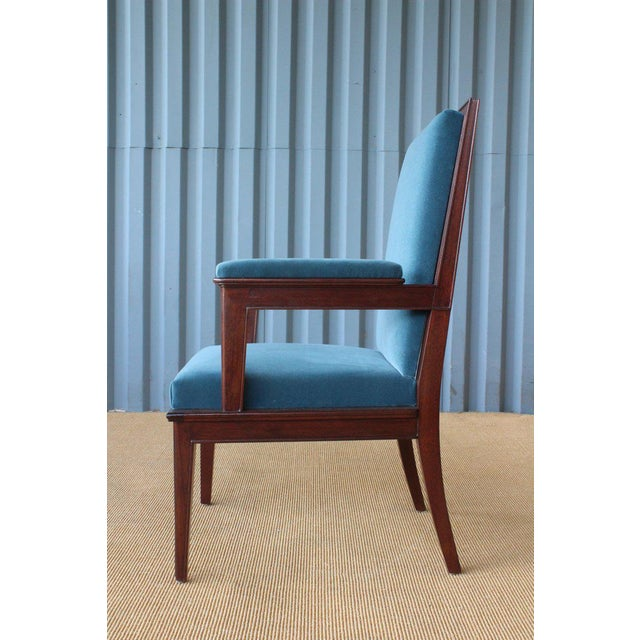 Mahogany Armchair in Velvet, France, 1940s. Set of Four Available. For Sale - Image 9 of 12