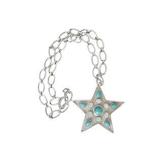 1970s Trifari Star Rhinestone Pendant Necklace For Sale