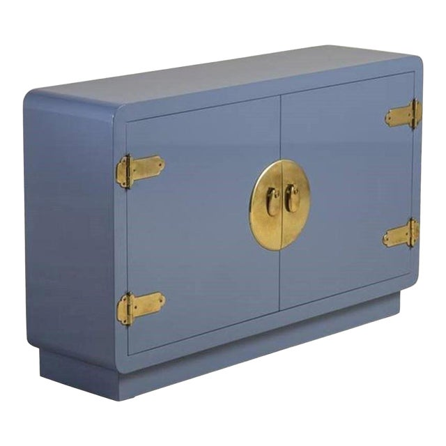 Mastercraft Console Cabinet in Soft Blue Lacquer and Brass For Sale